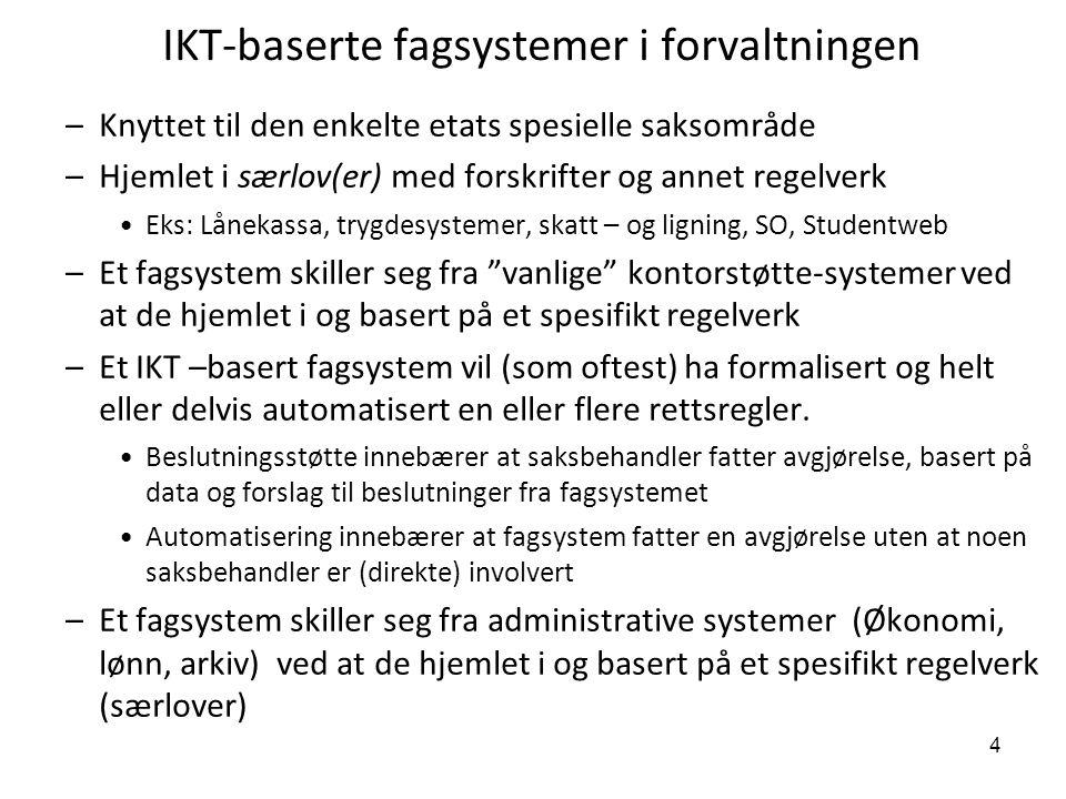 4 IKT-baserte fagsystemer i forvaltningen –Knyttet til den enkelte etats spesielle saksområde –Hjemlet i særlov(er) med forskrifter og annet regelverk
