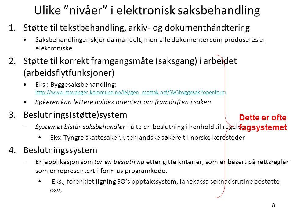 """8 Ulike """"nivåer"""" i elektronisk saksbehandling 1.Støtte til tekstbehandling, arkiv- og dokumenthåndtering Saksbehandlingen skjer da manuelt, men alle d"""