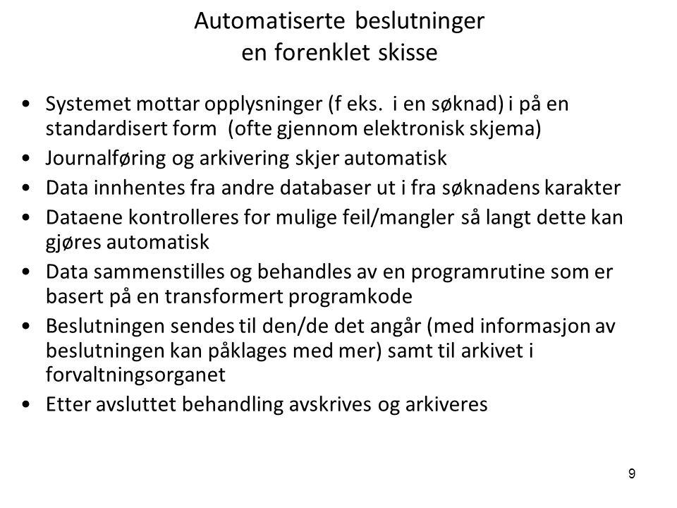 9 Automatiserte beslutninger en forenklet skisse Systemet mottar opplysninger (f eks. i en søknad) i på en standardisert form (ofte gjennom elektronis