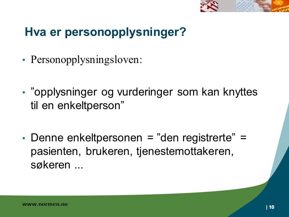 www.normen.no | 10 Hva er personopplysninger.