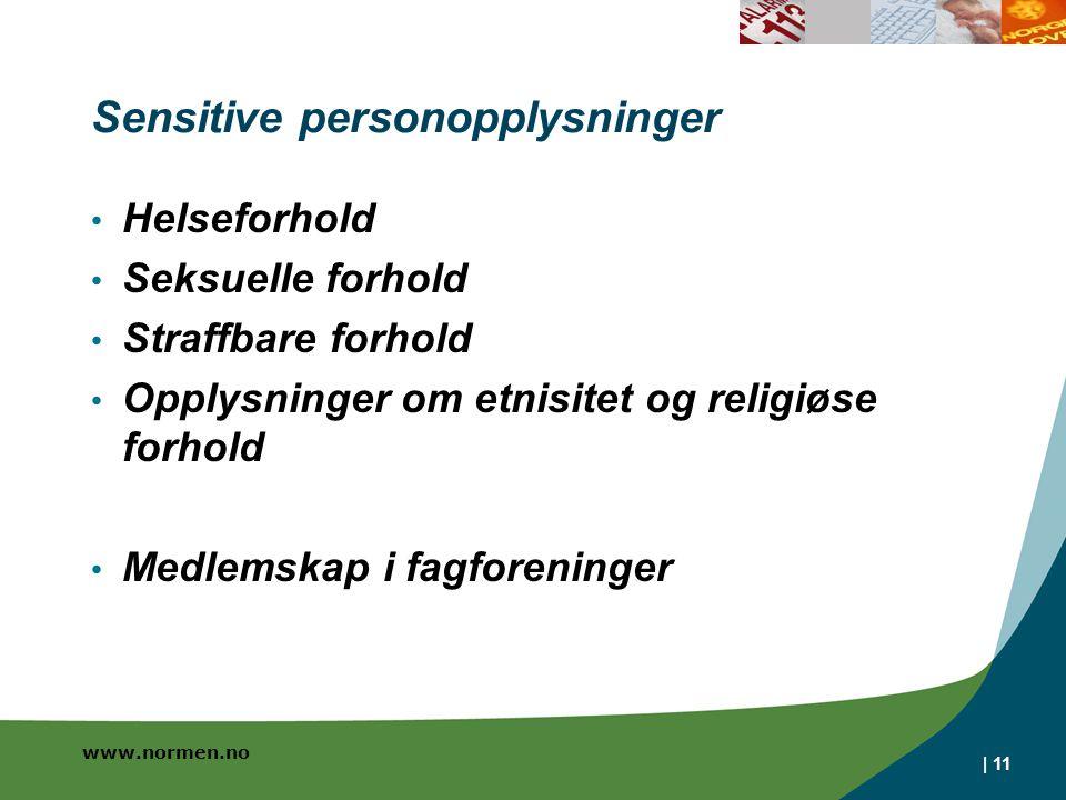 www.normen.no | 11 Sensitive personopplysninger Helseforhold Seksuelle forhold Straffbare forhold Opplysninger om etnisitet og religiøse forhold Medlemskap i fagforeninger