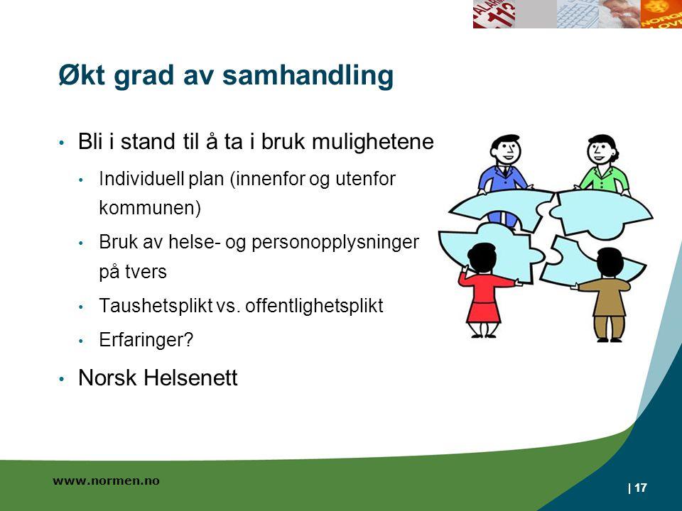 www.normen.no | 17 Økt grad av samhandling Bli i stand til å ta i bruk mulighetene Individuell plan (innenfor og utenfor kommunen) Bruk av helse- og personopplysninger på tvers Taushetsplikt vs.