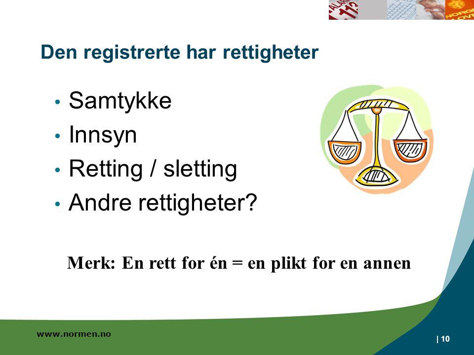 www.normen.no | 10 Den registrerte har rettigheter Samtykke Innsyn Retting / sletting Andre rettigheter.