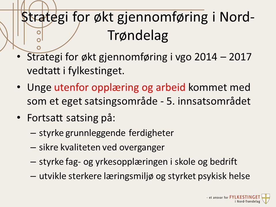 Strategi for økt gjennomføring i Nord- Trøndelag Strategi for økt gjennomføring i vgo 2014 – 2017 vedtatt i fylkestinget. Unge utenfor opplæring og ar