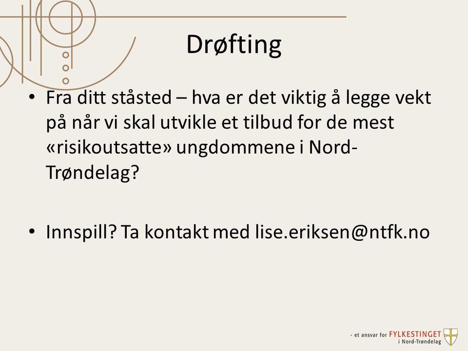 Drøfting Fra ditt ståsted – hva er det viktig å legge vekt på når vi skal utvikle et tilbud for de mest «risikoutsatte» ungdommene i Nord- Trøndelag?
