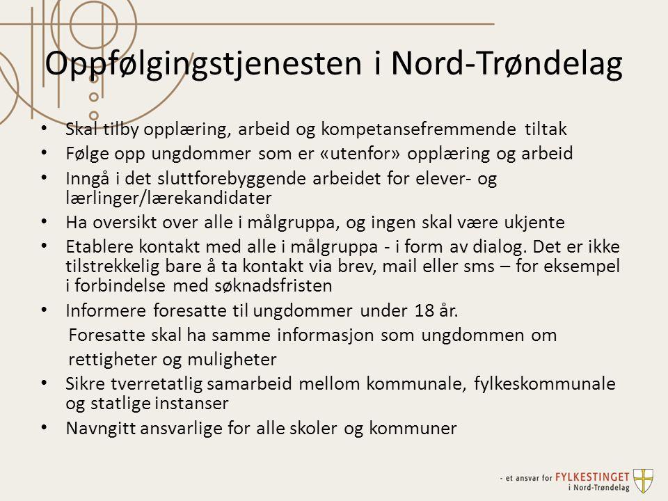 Oppfølgingstjenesten i Nord-Trøndelag Skal tilby opplæring, arbeid og kompetansefremmende tiltak Følge opp ungdommer som er «utenfor» opplæring og arb