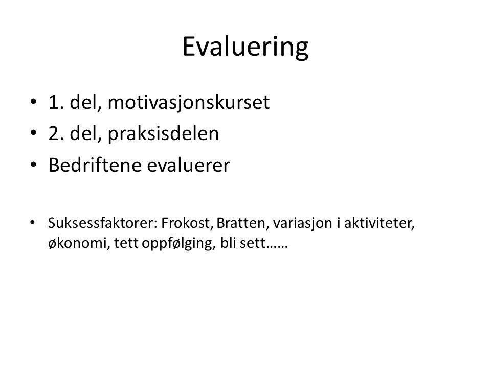 Evaluering 1. del, motivasjonskurset 2. del, praksisdelen Bedriftene evaluerer Suksessfaktorer: Frokost, Bratten, variasjon i aktiviteter, økonomi, te