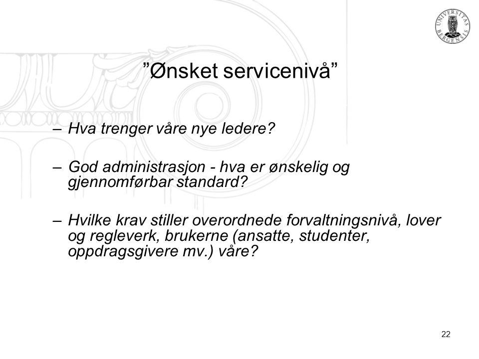 22 Ønsket servicenivå –Hva trenger våre nye ledere.