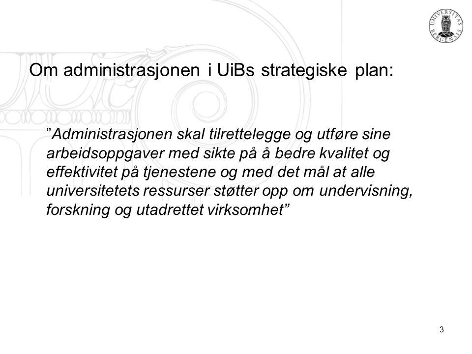 3 Om administrasjonen i UiBs strategiske plan: Administrasjonen skal tilrettelegge og utføre sine arbeidsoppgaver med sikte på å bedre kvalitet og effektivitet på tjenestene og med det mål at alle universitetets ressurser støtter opp om undervisning, forskning og utadrettet virksomhet