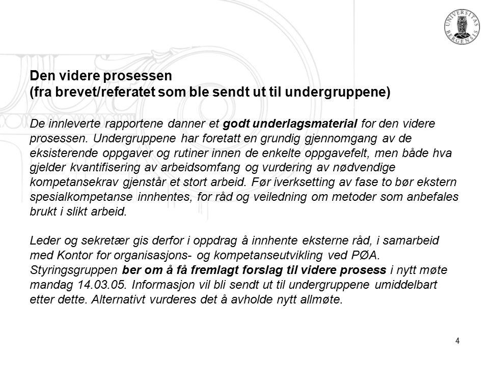 4 Den videre prosessen (fra brevet/referatet som ble sendt ut til undergruppene) De innleverte rapportene danner et godt underlagsmaterial for den videre prosessen.