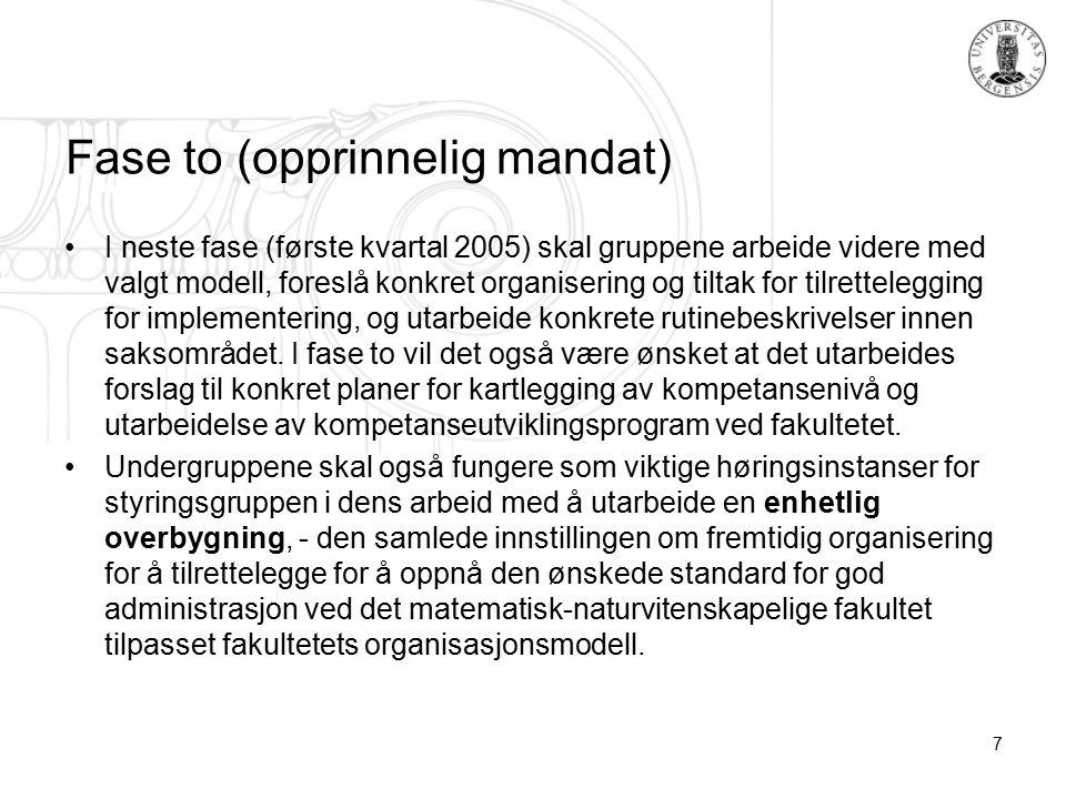 7 Fase to (opprinnelig mandat) I neste fase (første kvartal 2005) skal gruppene arbeide videre med valgt modell, foreslå konkret organisering og tiltak for tilrettelegging for implementering, og utarbeide konkrete rutinebeskrivelser innen saksområdet.