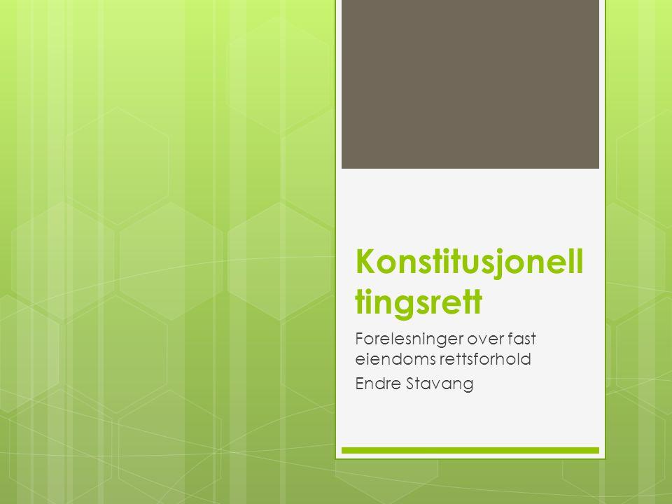 Konstitusjonell tingsrett Forelesninger over fast eiendoms rettsforhold Endre Stavang