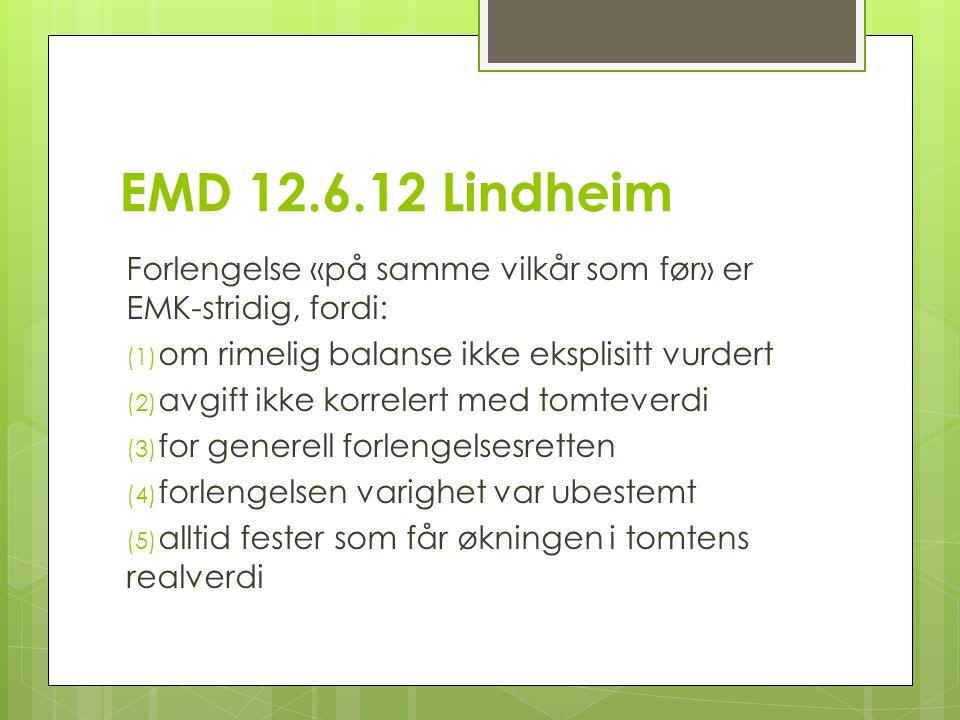 EMD 12.6.12 Lindheim Forlengelse «på samme vilkår som før» er EMK-stridig, fordi: (1) om rimelig balanse ikke eksplisitt vurdert (2) avgift ikke korrelert med tomteverdi (3) for generell forlengelsesretten (4) forlengelsen varighet var ubestemt (5) alltid fester som får økningen i tomtens realverdi