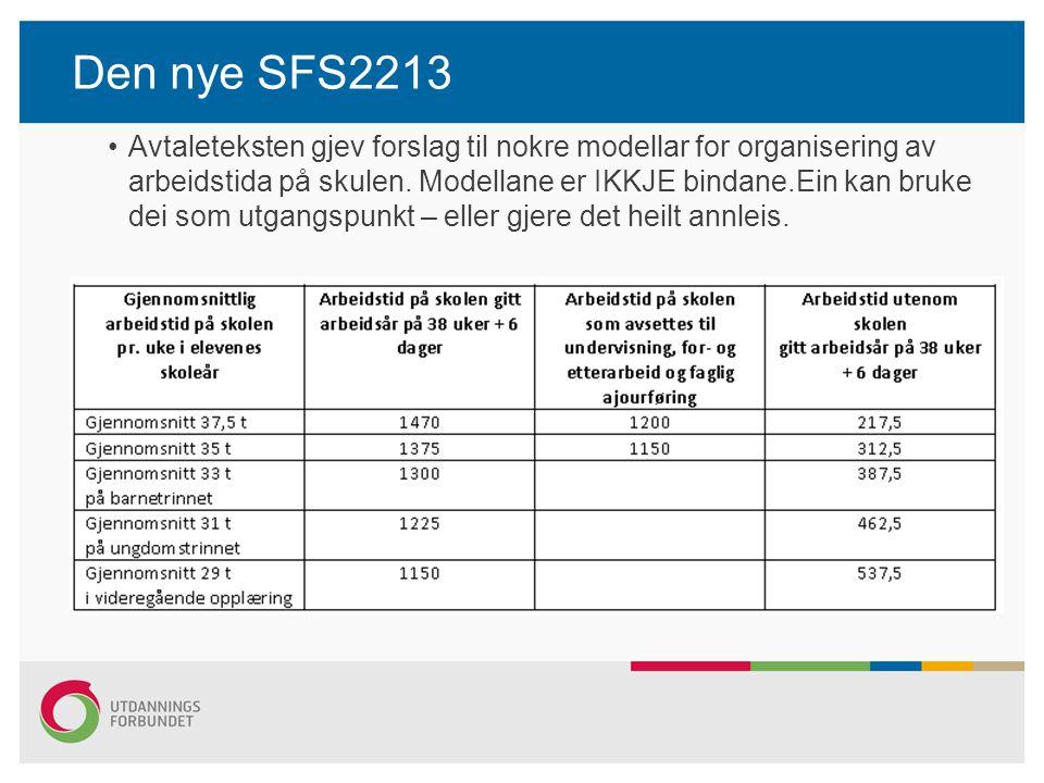 Den nye SFS2213 Avtaleteksten gjev forslag til nokre modellar for organisering av arbeidstida på skulen. Modellane er IKKJE bindane.Ein kan bruke dei
