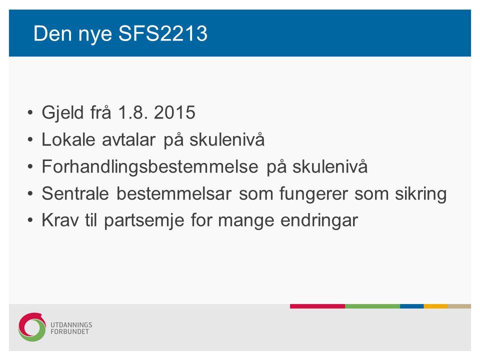 Den nye SFS2213 Skuleleiarar Årsverk 1687,5 timar med arbeidstid på 37,5 timar per veke i 45 veke Stilling delt mellom undervisning og leiing – undervisninga skal ligge i den ordinære arbeidstida Årsverket kan komprimerast etter avtale