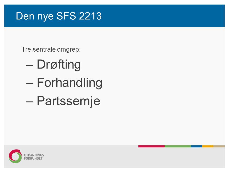 Den nye SFS 2213 Tre sentrale omgrep: – Drøfting – Forhandling – Partssemje