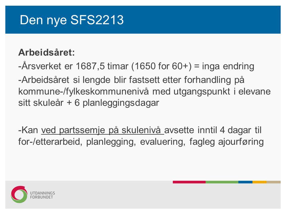 Den nye SFS2213 Arbeidstid på skulen: -Skal fastsetjast ved partsemje på skulenivå -Kan vere maksimalt 9 timar per dag og 37,5 timar per veke