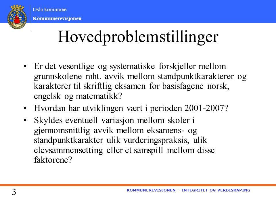 Oslo kommune Kommunerevisjonen KOMMUNEREVISJONEN - INTEGRITET OG VERDISKAPING Hovedproblemstillinger Er det vesentlige og systematiske forskjeller mellom grunnskolene mht.