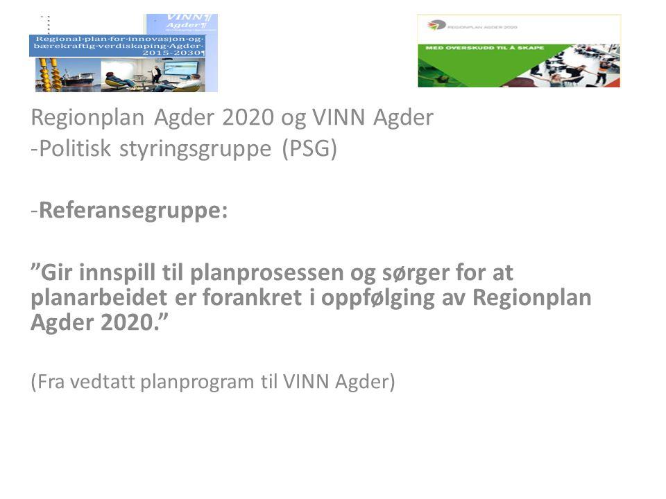 """Regionplan Agder 2020 og VINN Agder -Politisk styringsgruppe (PSG) -Referansegruppe: """"Gir innspill til planprosessen og sørger for at planarbeidet er"""