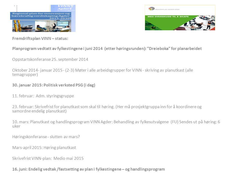 """Fremdriftsplan VINN – status: Planprogram vedtatt av fylkestingene i juni 2014 (etter høringsrunden): """"Dreieboka"""" for planarbeidet Oppstartskonferanse"""