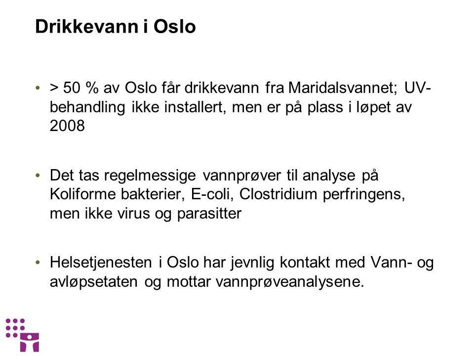 Drikkevann i Oslo > 50 % av Oslo får drikkevann fra Maridalsvannet; UV- behandling ikke installert, men er på plass i løpet av 2008 Det tas regelmessige vannprøver til analyse på Koliforme bakterier, E-coli, Clostridium perfringens, men ikke virus og parasitter Helsetjenesten i Oslo har jevnlig kontakt med Vann- og avløpsetaten og mottar vannprøveanalysene.