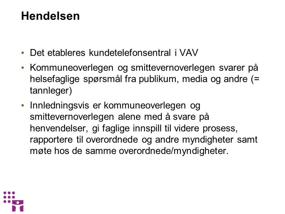 Hendelsen Det etableres kundetelefonsentral i VAV Kommuneoverlegen og smittevernoverlegen svarer på helsefaglige spørsmål fra publikum, media og andre