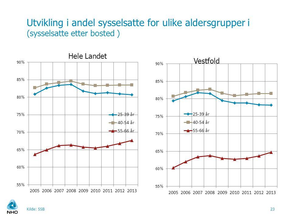 Utvikling i andel sysselsatte for ulike aldersgrupper i (sysselsatte etter bosted ) Kilde: SSB23 Vestfold Hele Landet