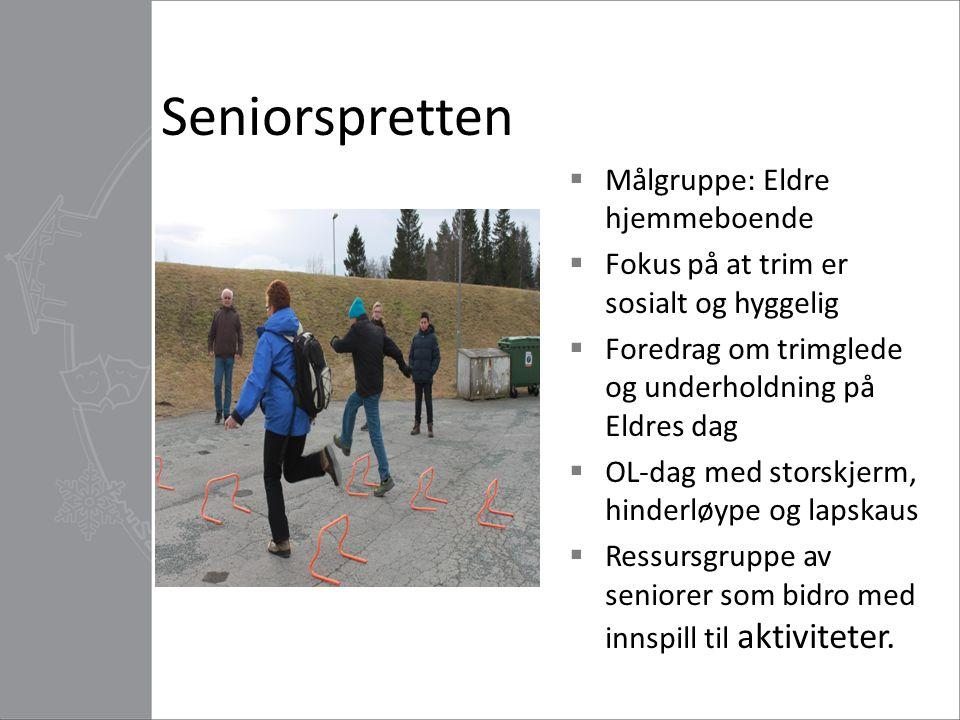 Seniorspretten  Målgruppe: Eldre hjemmeboende  Fokus på at trim er sosialt og hyggelig  Foredrag om trimglede og underholdning på Eldres dag  OL-d