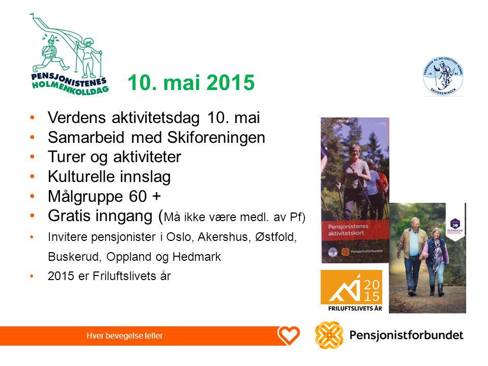 10. mai 2015 Verdens aktivitetsdag 10. mai Samarbeid med Skiforeningen Turer og aktiviteter Kulturelle innslag Målgruppe 60 + Gratis inngang ( Må ikke