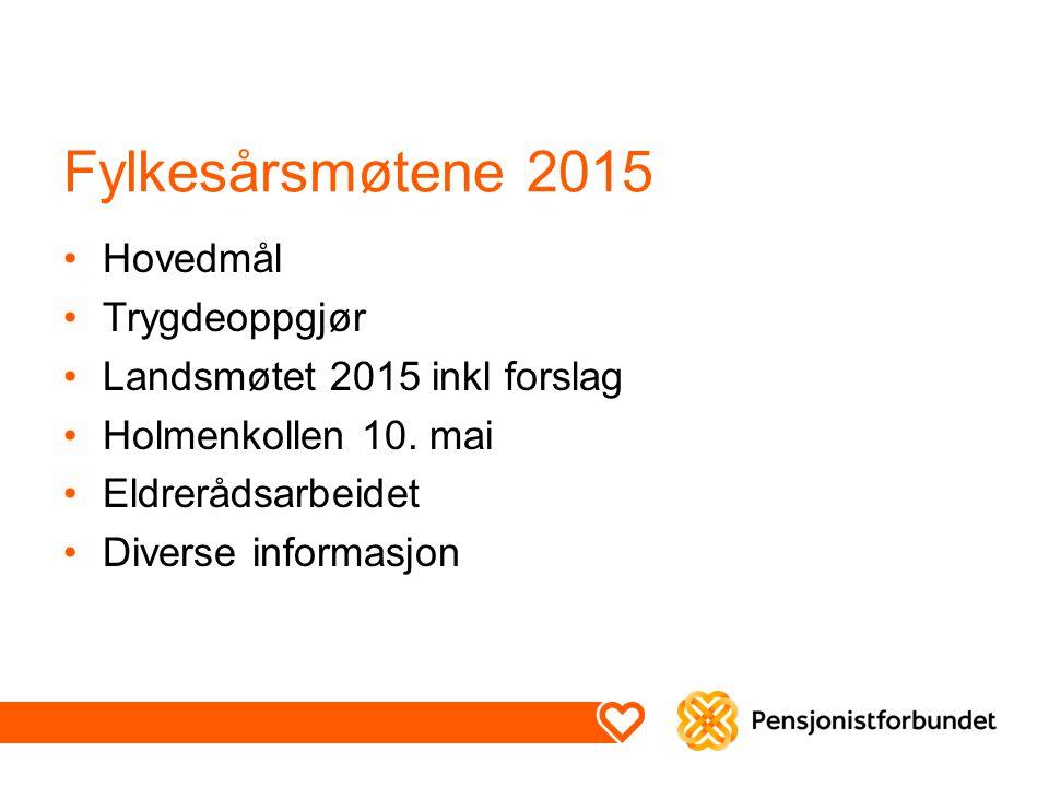 Fylkesårsmøtene 2015 Hovedmål Trygdeoppgjør Landsmøtet 2015 inkl forslag Holmenkollen 10. mai Eldrerådsarbeidet Diverse informasjon