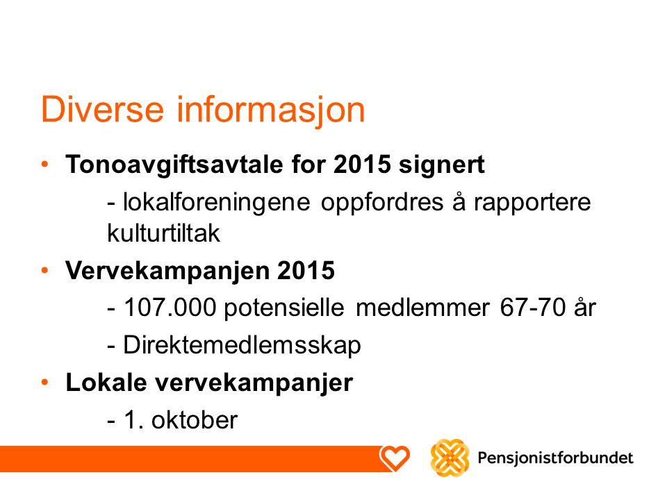 Diverse informasjon Tonoavgiftsavtale for 2015 signert - lokalforeningene oppfordres å rapportere kulturtiltak Vervekampanjen 2015 - 107.000 potensiel