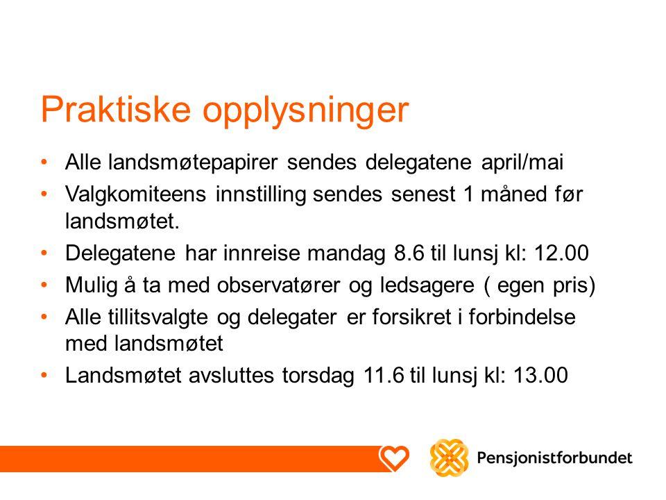 Praktiske opplysninger Alle landsmøtepapirer sendes delegatene april/mai Valgkomiteens innstilling sendes senest 1 måned før landsmøtet. Delegatene ha
