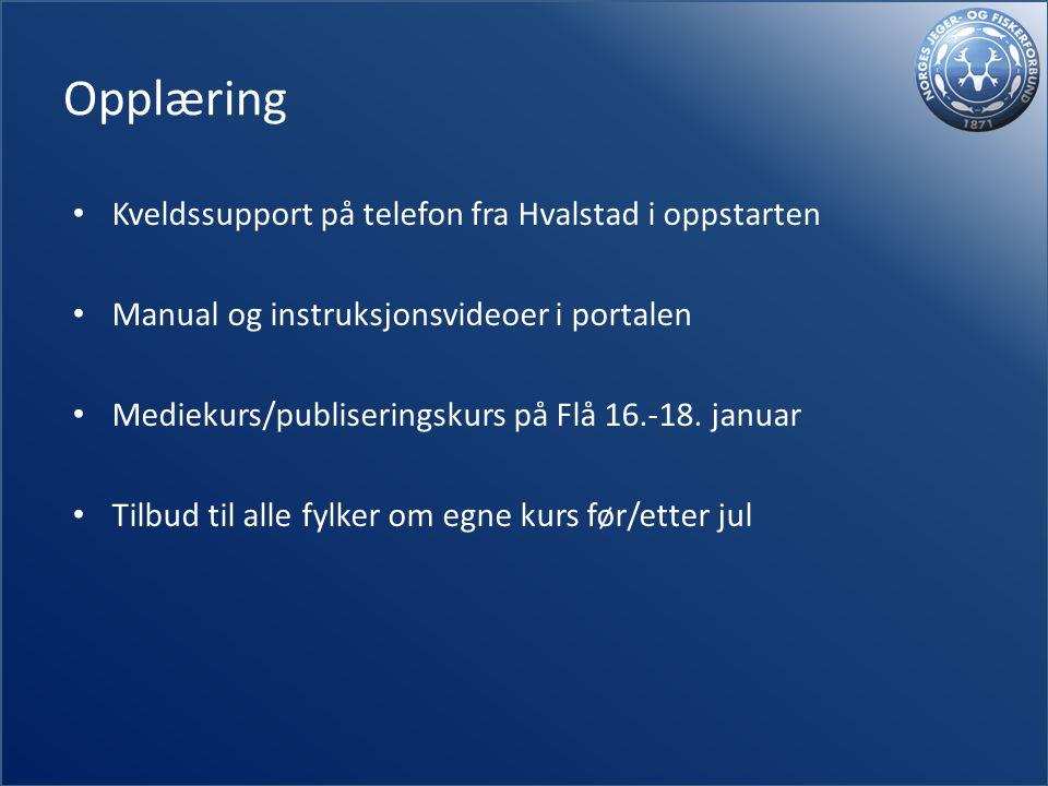 Opplæring Kveldssupport på telefon fra Hvalstad i oppstarten Manual og instruksjonsvideoer i portalen Mediekurs/publiseringskurs på Flå 16.-18.