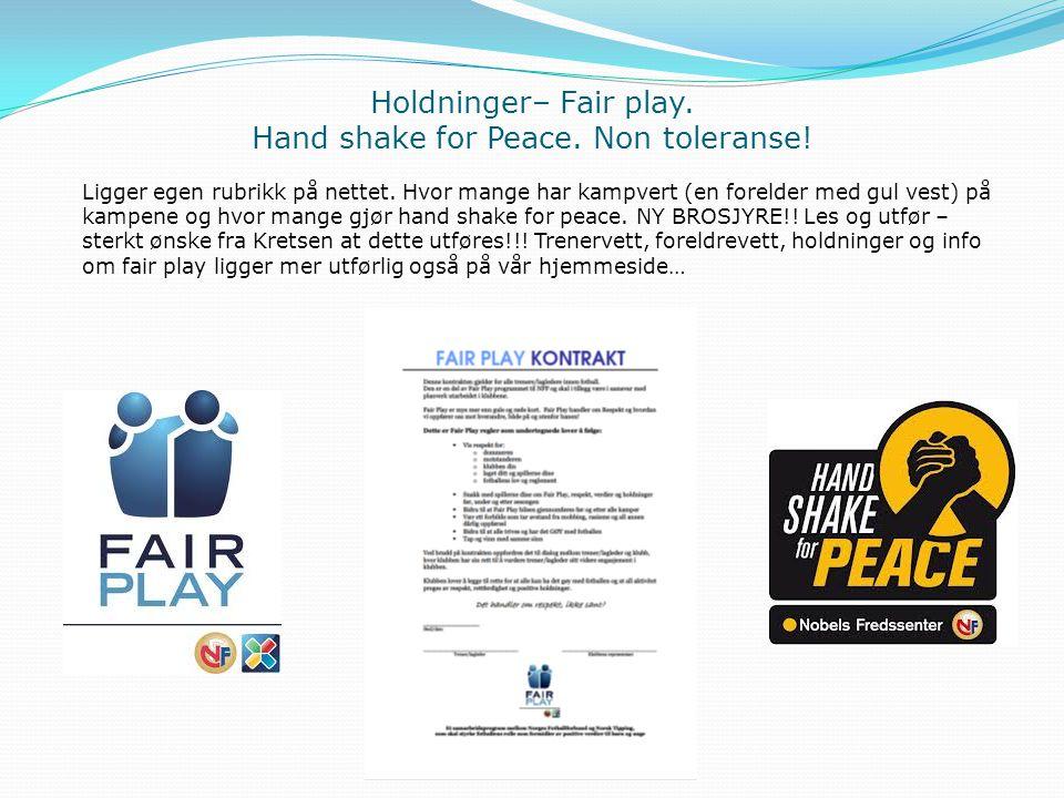 Holdninger– Fair play. Hand shake for Peace. Non toleranse! Ligger egen rubrikk på nettet. Hvor mange har kampvert (en forelder med gul vest) på kampe
