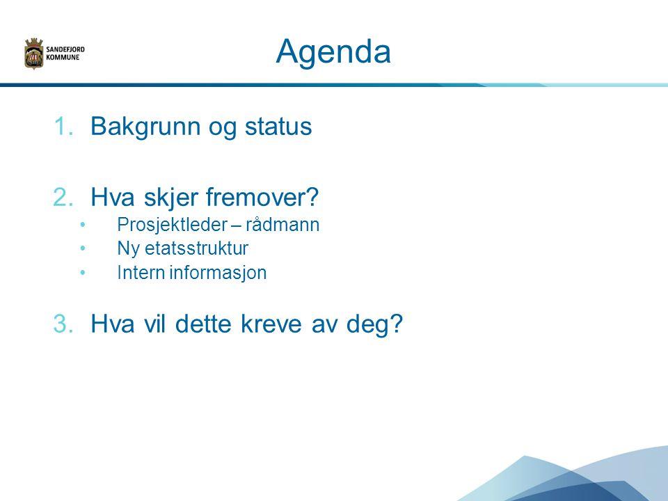 Agenda 1.Bakgrunn og status 2.Hva skjer fremover.