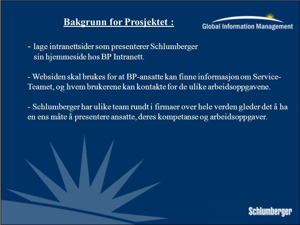 Bakgrunn for Prosjektet : - lage intranettsider som presenterer Schlumberger sin hjemmeside hos BP Intranett.