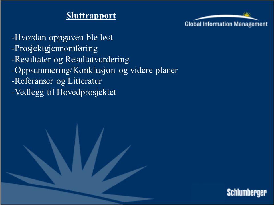 Sluttrapport -Hvordan oppgaven ble løst -Prosjektgjennomføring -Resultater og Resultatvurdering -Oppsummering/Konklusjon og videre planer -Referanser og Litteratur -Vedlegg til Hovedprosjektet