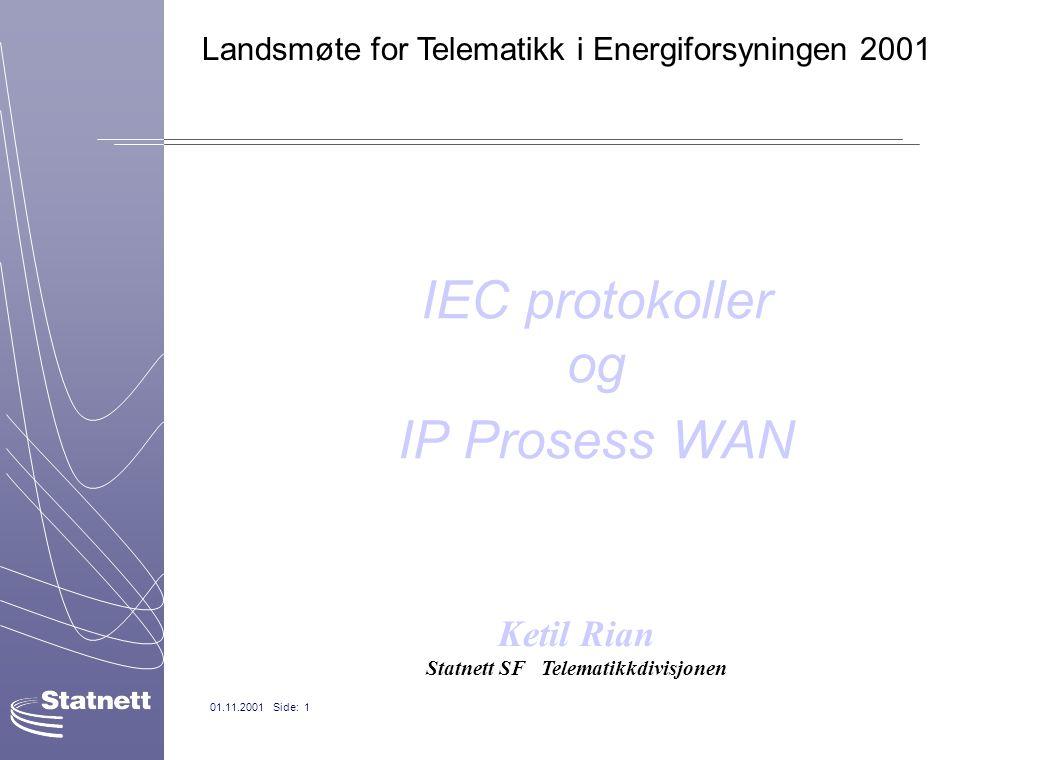 01.11.2001 Side: 1 IEC protokoller og IP Prosess WAN Ketil Rian Statnett SF Telematikkdivisjonen Landsmøte for Telematikk i Energiforsyningen 2001
