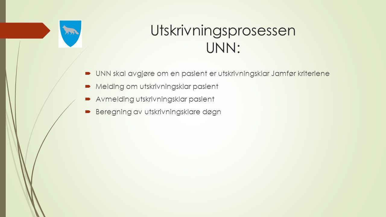 Utskrivningsprosessen UNN:  UNN skal avgjøre om en pasient er utskrivningsklar Jamfør kriteriene  Melding om utskrivningsklar pasient  Avmelding ut