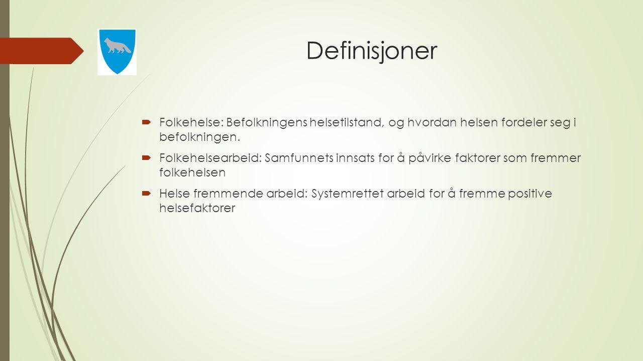 Definisjoner  Folkehelse: Befolkningens helsetilstand, og hvordan helsen fordeler seg i befolkningen.  Folkehelsearbeid: Samfunnets innsats for å på
