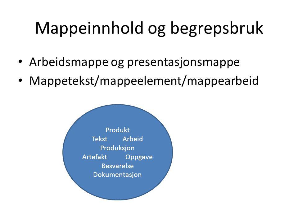 Arbeidsmappe og presentasjonsmappe Mappetekst/mappeelement/mappearbeid Produkt Tekst Arbeid Produksjon Artefakt Oppgave Besvarelse Dokumentasjon
