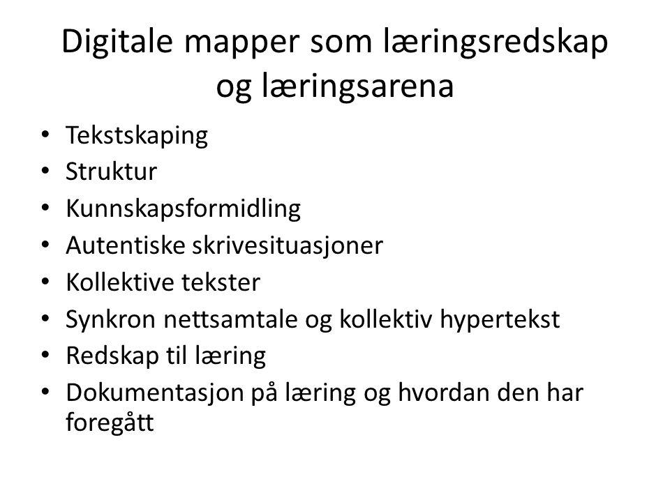 Digitale mapper som læringsredskap og læringsarena Tekstskaping Struktur Kunnskapsformidling Autentiske skrivesituasjoner Kollektive tekster Synkron n