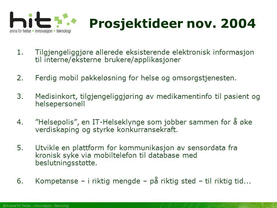 ©Arena for helse – innovasjon - teknologi Prosjektideer nov. 2004 1.Tilgjengeliggjøre allerede eksisterende elektronisk informasjon til interne/ekster