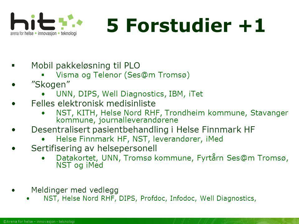 """©Arena for helse – innovasjon - teknologi 5 Forstudier +1  Mobil pakkeløsning til PLO  Visma og Telenor (Ses@m Tromsø) """"Skogen"""" UNN, DIPS, Well Diag"""