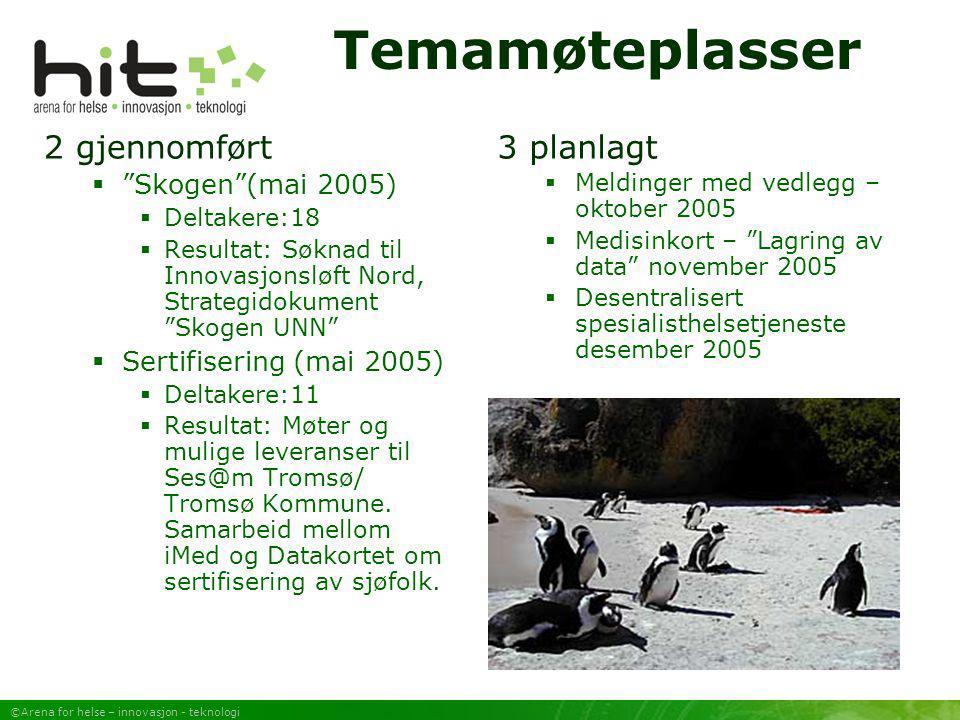 """©Arena for helse – innovasjon - teknologi Temamøteplasser 2 gjennomført  """"Skogen""""(mai 2005)  Deltakere:18  Resultat: Søknad til Innovasjonsløft Nor"""