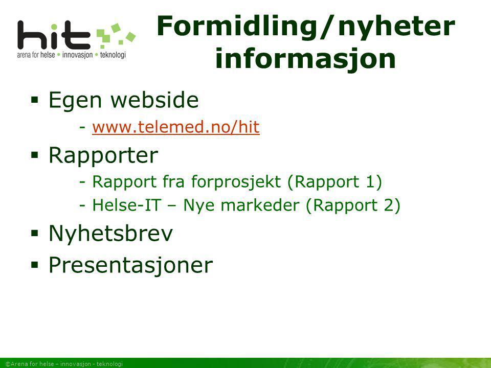 ©Arena for helse – innovasjon - teknologi Formidling/nyheter informasjon  Egen webside - www.telemed.no/hitwww.telemed.no/hit  Rapporter - Rapport f