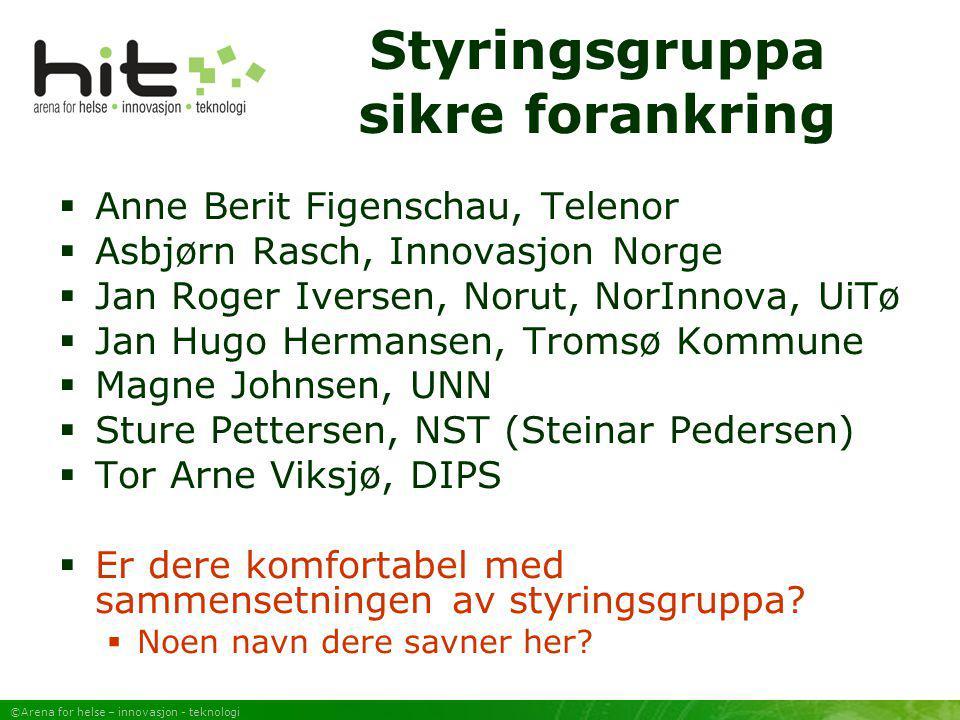 ©Arena for helse – innovasjon - teknologi Styringsgruppa sikre forankring  Anne Berit Figenschau, Telenor  Asbjørn Rasch, Innovasjon Norge  Jan Rog