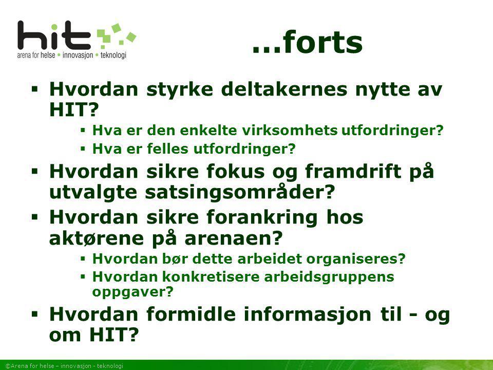 ©Arena for helse – innovasjon - teknologi Formidling/nyheter informasjon  Egen webside - www.telemed.no/hitwww.telemed.no/hit  Rapporter - Rapport fra forprosjekt (Rapport 1) - Helse-IT – Nye markeder (Rapport 2)  Nyhetsbrev  Presentasjoner