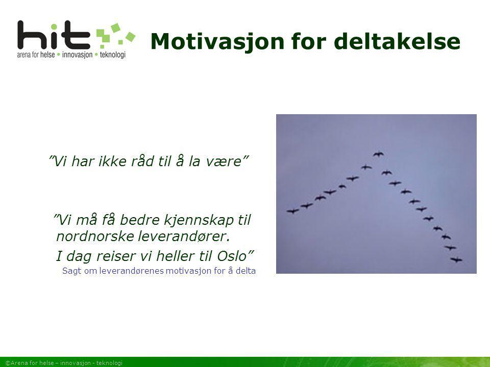 ©Arena for helse – innovasjon - teknologi Om HIT  HIT Nord-Norge skal eies av aktørene på arenaen  Arbeidsgruppen består av deltakere fra NST, Innomed/TTO og Telenor  Sekretariat ivaretas av NST  Styringsgruppe med representanter fra strategisk viktige aktører  Finansiering fra Innovasjon Norge, NST, Telenor og NorInnova  Tidsperspektiv: Langsiktig, men foreløpig finansiering for 2005 Bedrifter FoU Myndigheter KapitalHelsevesen Fasilitator HIT NN