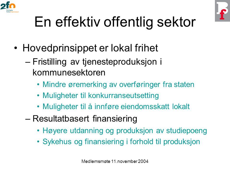 Medlemsmøte 11.november 2004 En effektiv offentlig sektor Hovedprinsippet er lokal frihet –Fristilling av tjenesteproduksjon i kommunesektoren Mindre